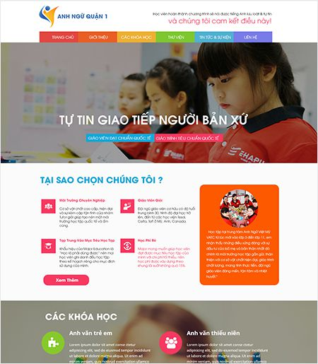 Website - Trung tâm anh ngữ